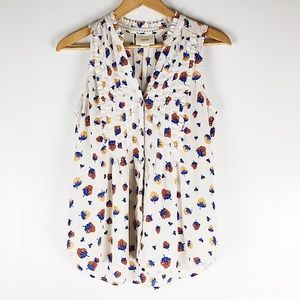 Anthro Maeve Strawberry Print Button Down Blouse